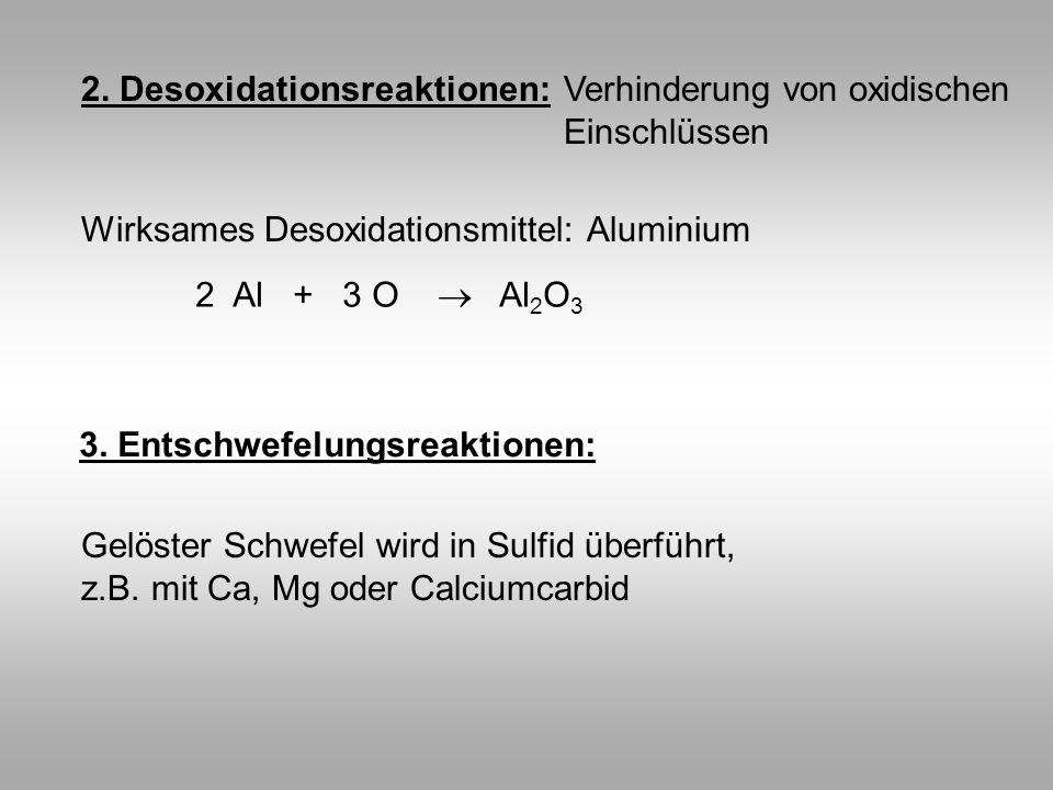 2. Desoxidationsreaktionen:Verhinderung von oxidischen Einschlüssen Wirksames Desoxidationsmittel: Aluminium 2 Al + 3 O Al 2 O 3 3. Entschwefelungsrea