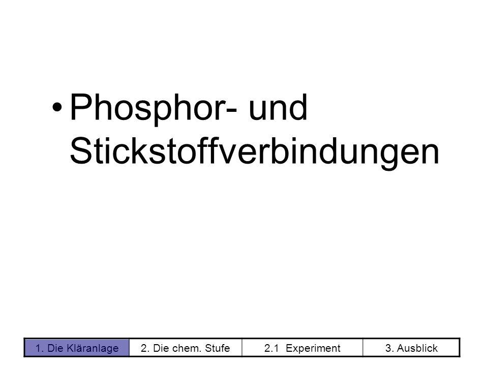 1. Die Kläranlage2. Die chem. Stufe2.1 Experiment3. Ausblick Phosphor- und Stickstoffverbindungen