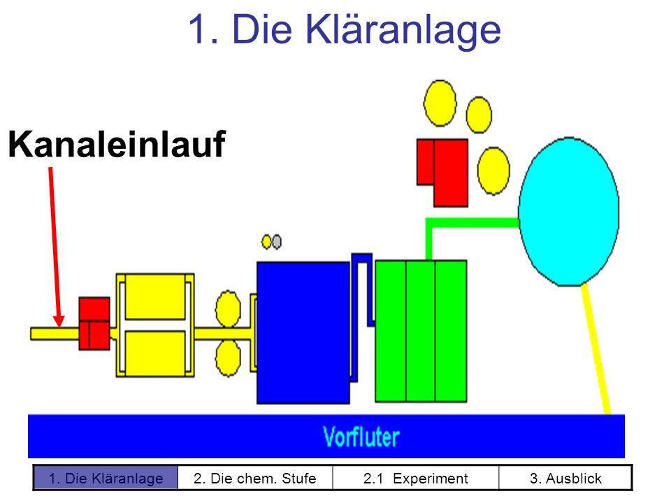 1. Die Kläranlage2. Die chem. Stufe2.1 Experiment3. Ausblick Kanaleinlauf 1. Die Kläranlage