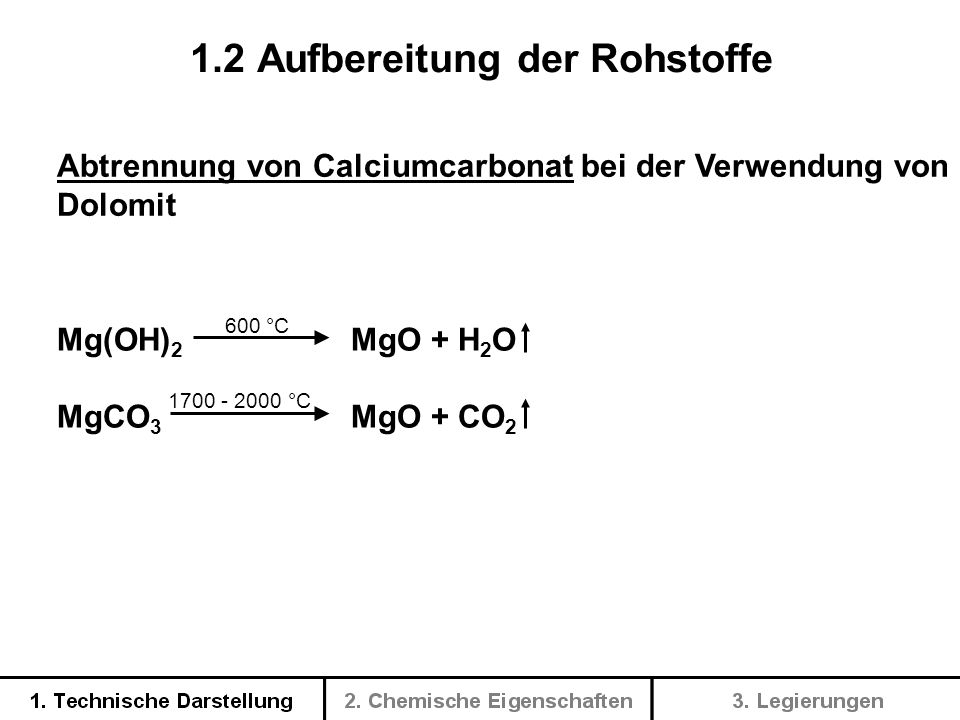 2 MgO + C + 2 Cl 2 2 MgCl 2 + CO 2 (niedrige Temp.) MgO + C + Cl 2 MgCl 2 + CO (hohe Temp.) 1.3 Elektrolytische Herstellung von Magnesium