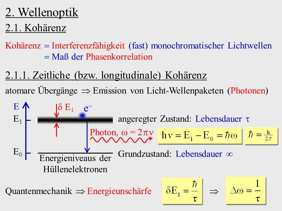 2. Wellenoptik 2.1. Kohärenz Kohärenz Interferenzfähigkeit (fast) monochromatischer Lichtwellen Maß der Phasenkorrelation Quantenmechanik Energieunsch