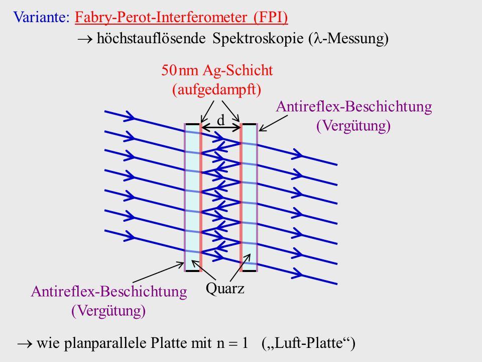 Variante: Fabry-Perot-Interferometer (FPI) höchstauflösende Spektroskopie ( -Messung) d Quarz Antireflex-Beschichtung (Vergütung) 50 nm Ag-Schicht (au