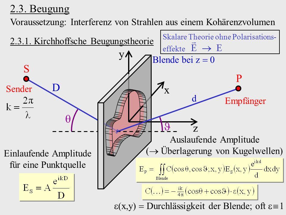 2.3. Beugung 2.3.1. Kirchhoffsche Beugungstheorie Voraussetzung: Interferenz von Strahlen aus einem Kohärenzvolumen z x y Blende bei z 0 S P Sender Em