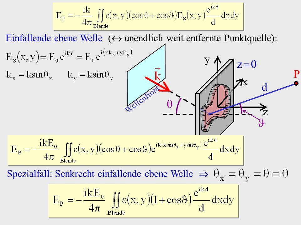 Einfallende ebene Welle ( unendlich weit entfernte Punktquelle): P z x y z 0 d Wellenfront Spezialfall: Senkrecht einfallende ebene Welle