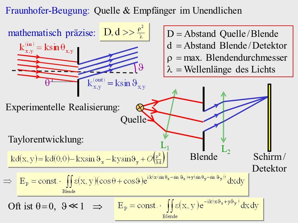 Fraunhofer-Beugung: Quelle & Empfänger im Unendlichen mathematisch präzise: D Abstand Quelle / Blende d Abstand Blende / Detektor max. Blendendurchmes