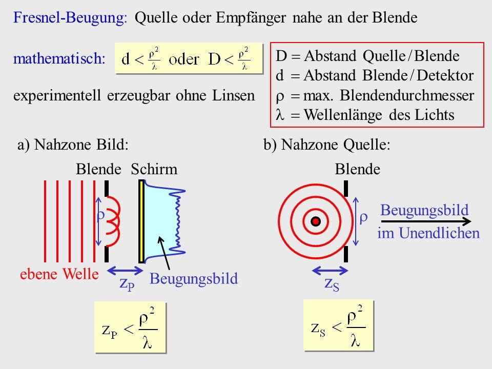 Fresnel-Beugung: Quelle oder Empfänger nahe an der Blende mathematisch: experimentell erzeugbar ohne Linsen b) Nahzone Quelle: zSzS Blende Beugungsbil