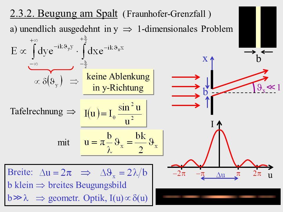 2.3.2. Beugung am Spalt ( Fraunhofer-Grenzfall ) a) unendlich ausgedehnt in y 1-dimensionales Problem b b x 1 x keine Ablenkung in y-Richtung Tafelrec