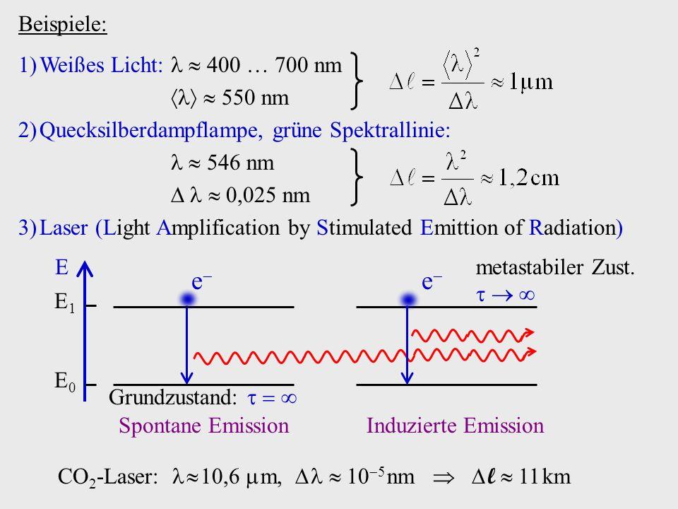 Beispiele: E E0E0 Grundzustand: E1E1 metastabiler Zust. e e Spontane EmissionInduzierte Emission CO 2 -Laser: 10,6 m, 10 5 nm l 11 km 1)Weißes Licht: