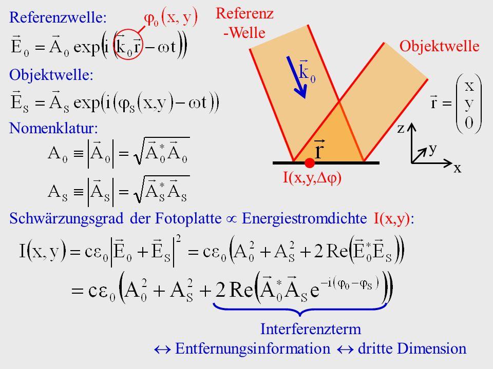 x y z Referenz -Welle I(x,y, ) Objektwelle Referenzwelle: Objektwelle: Nomenklatur: Schwärzungsgrad der Fotoplatte Energiestromdichte I(x,y): Interfer