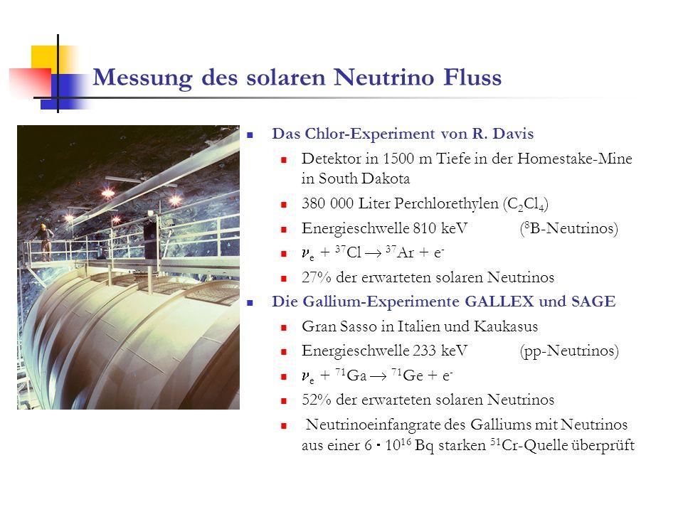 Messung des solaren Neutrino Fluss Das Chlor-Experiment von R. Davis Detektor in 1500 m Tiefe in der Homestake-Mine in South Dakota 380 000 Liter Perc