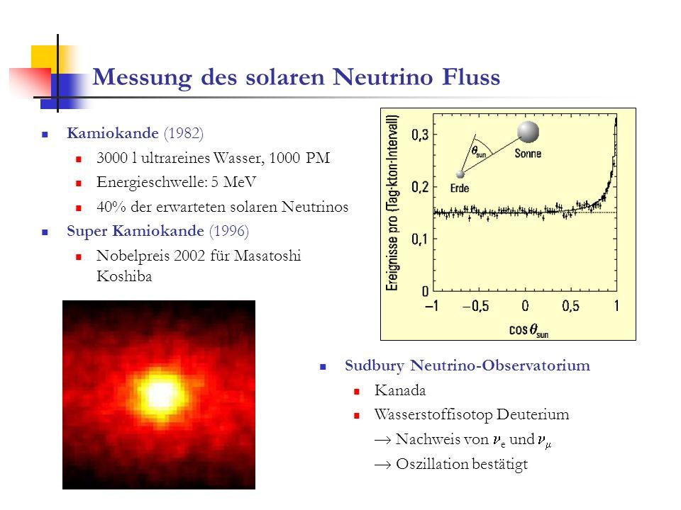 Messung des solaren Neutrino Fluss Kamiokande (1982) 3000 l ultrareines Wasser, 1000 PM Energieschwelle: 5 MeV 40% der erwarteten solaren Neutrinos Su