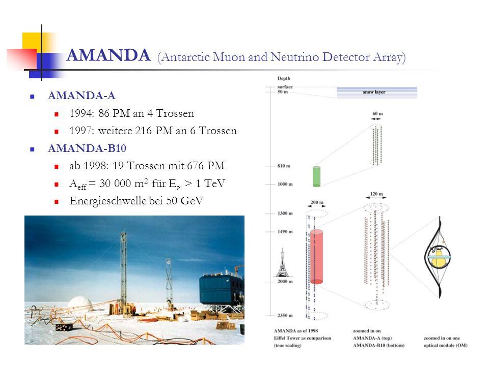 AMANDA (Antarctic Muon and Neutrino Detector Array) AMANDA-A 1994: 86 PM an 4 Trossen 1997: weitere 216 PM an 6 Trossen AMANDA-B10 ab 1998: 19 Trossen