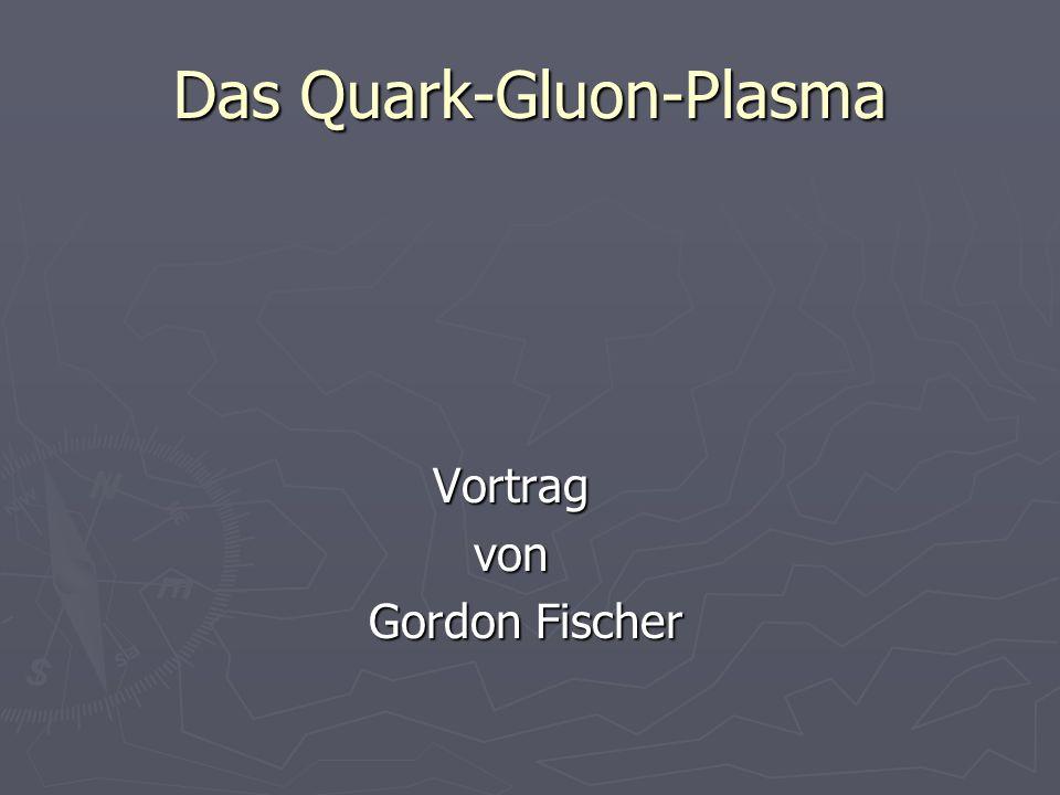 Signaturen eines QGP Neueste Beweise Neueste Beweise - theoretische Analyse von Au+Au Stößen mit relativistischen Diffusionsmodell - Es werden viele neue Quarks und Gluonen erzeugt - Experiment widerspricht der theoretischen Vorhersage - lokales QGP im thermischen Gleichgewicht soll entstehen soll entstehen