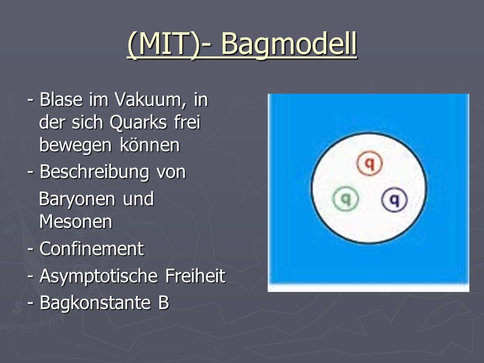 (MIT)- Bagmodell - Blase im Vakuum, in der sich Quarks frei bewegen können - Blase im Vakuum, in der sich Quarks frei bewegen können - Beschreibung vo
