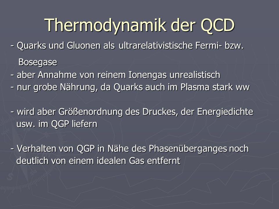 Thermodynamik der QCD - Quarks und Gluonen als ultrarelativistische Fermi- bzw. Bosegase Bosegase - aber Annahme von reinem Ionengas unrealistisch - n