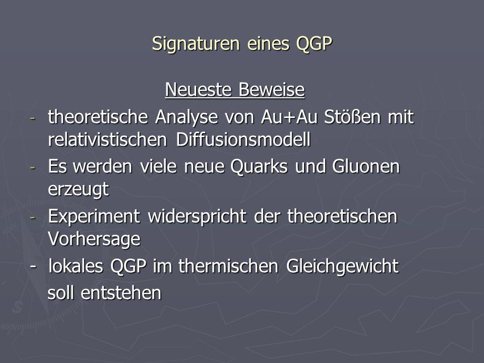 Signaturen eines QGP Neueste Beweise Neueste Beweise - theoretische Analyse von Au+Au Stößen mit relativistischen Diffusionsmodell - Es werden viele n