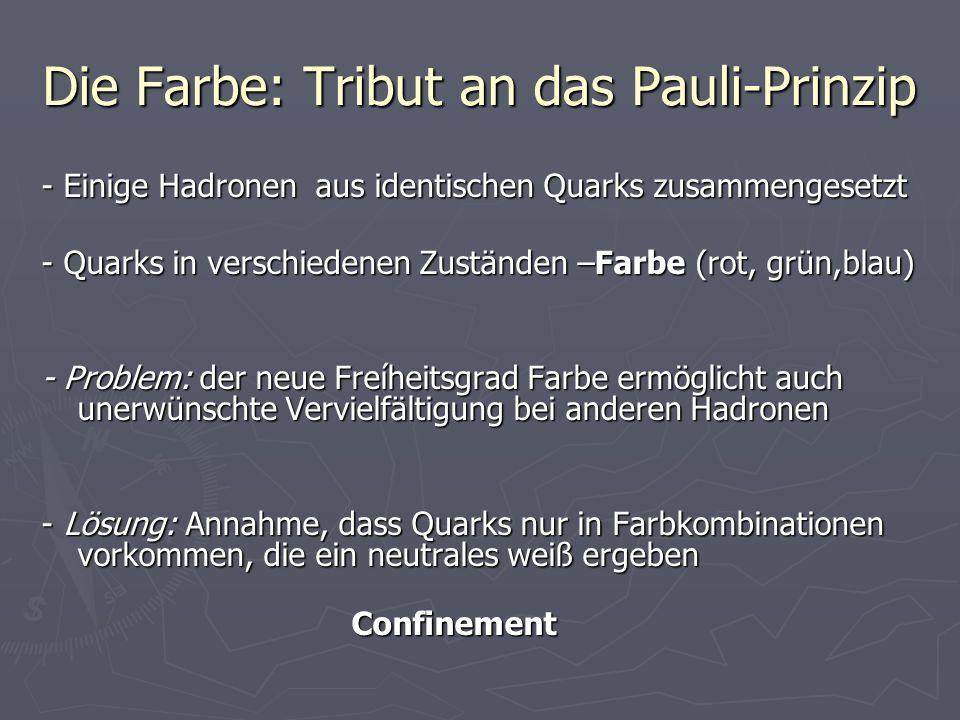 Die Farbe: Tribut an das Pauli-Prinzip - Einige Hadronen aus identischen Quarks zusammengesetzt - Quarks in verschiedenen Zuständen –Farbe (rot, grün,