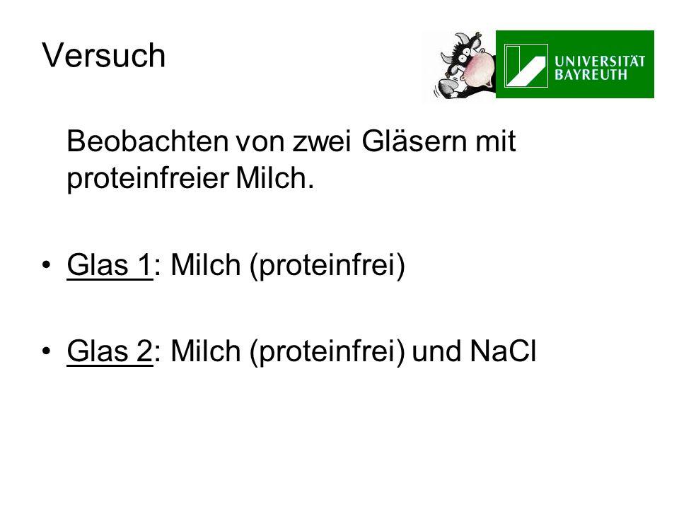 Versuch Beobachten von zwei Gläsern mit proteinfreier Milch. Glas 1: Milch (proteinfrei) Glas 2: Milch (proteinfrei) und NaCl