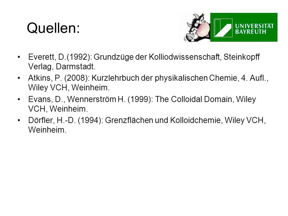 Quellen: Everett, D.(1992): Grundzüge der Kolliodwissenschaft, Steinkopff Verlag, Darmstadt. Atkins, P. (2008): Kurzlehrbuch der physikalischen Chemie