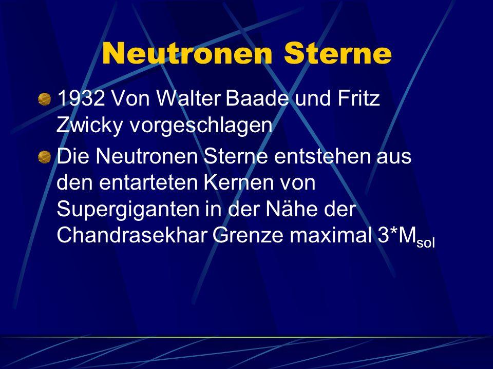 1932 Von Walter Baade und Fritz Zwicky vorgeschlagen Die Neutronen Sterne entstehen aus den entarteten Kernen von Supergiganten in der Nähe der Chandr