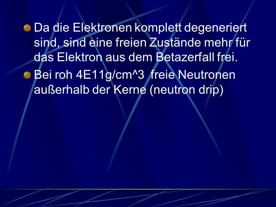 Da die Elektronen komplett degeneriert sind, sind eine freien Zustände mehr für das Elektron aus dem Betazerfall frei. Bei roh 4E11g/cm^3 freie Neutro