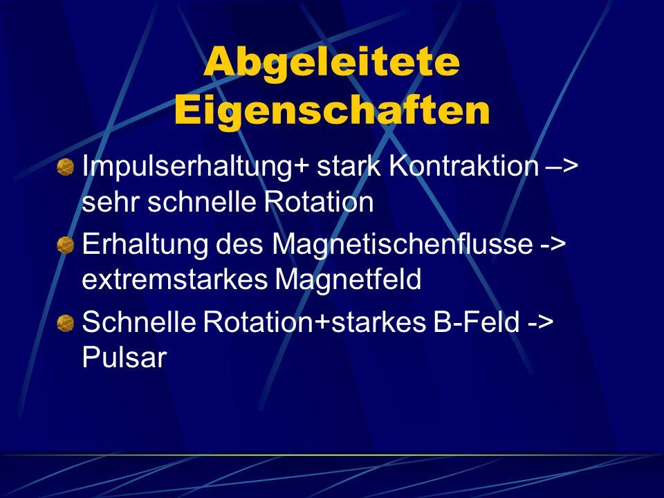 Abgeleitete Eigenschaften Impulserhaltung+ stark Kontraktion –> sehr schnelle Rotation Erhaltung des Magnetischenflusse -> extremstarkes Magnetfeld Sc