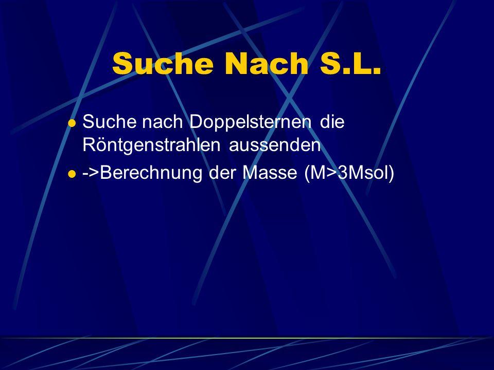 Suche Nach S.L. Suche nach Doppelsternen die Röntgenstrahlen aussenden ->Berechnung der Masse (M>3Msol)