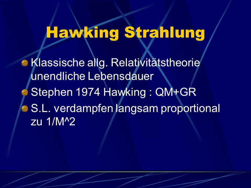 Hawking Strahlung Klassische allg. Relativitätstheorie unendliche Lebensdauer Stephen 1974 Hawking : QM+GR S.L. verdampfen langsam proportional zu 1/M