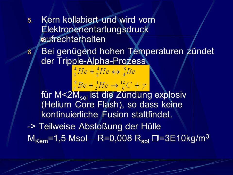 5. Kern kollabiert und wird vom Elektronenentartungsdruck aufrechterhalten 6. Bei genügend hohen Temperaturen zündet der Tripple-Alpha-Prozess für M<2