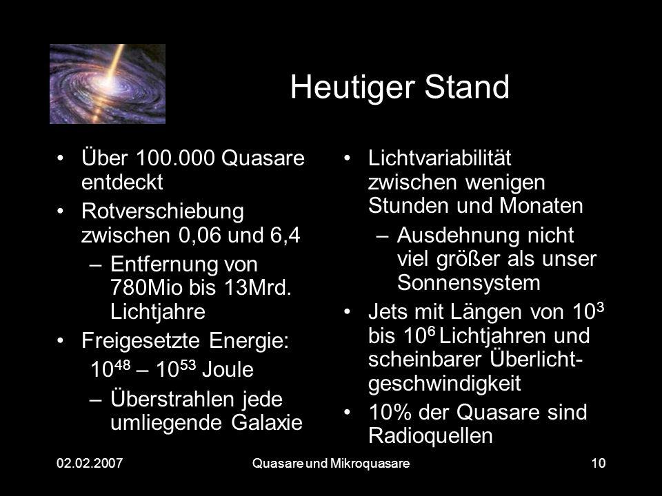Quasare und Mikroquasare02.02.200710 Heutiger Stand Über 100.000 Quasare entdeckt Rotverschiebung zwischen 0,06 und 6,4 –Entfernung von 780Mio bis 13M