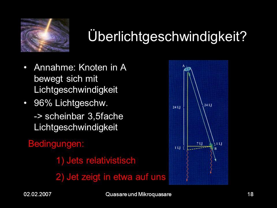 Quasare und Mikroquasare02.02.200718 Überlichtgeschwindigkeit? Annahme: Knoten in A bewegt sich mit Lichtgeschwindigkeit 96% Lichtgeschw. -> scheinbar