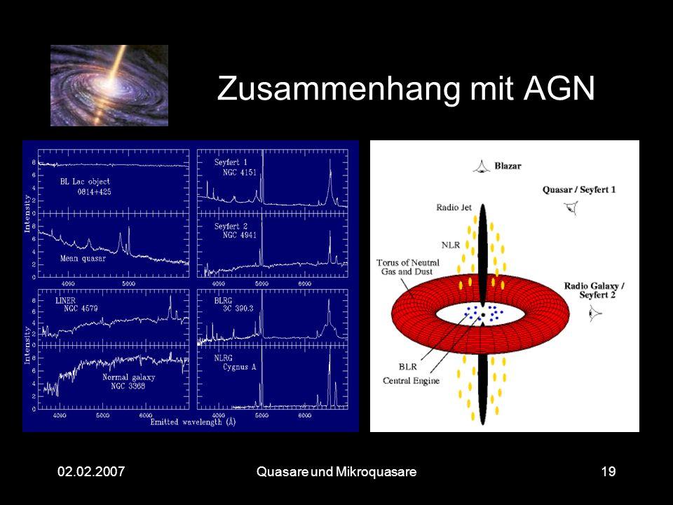 Quasare und Mikroquasare02.02.200719 Zusammenhang mit AGN