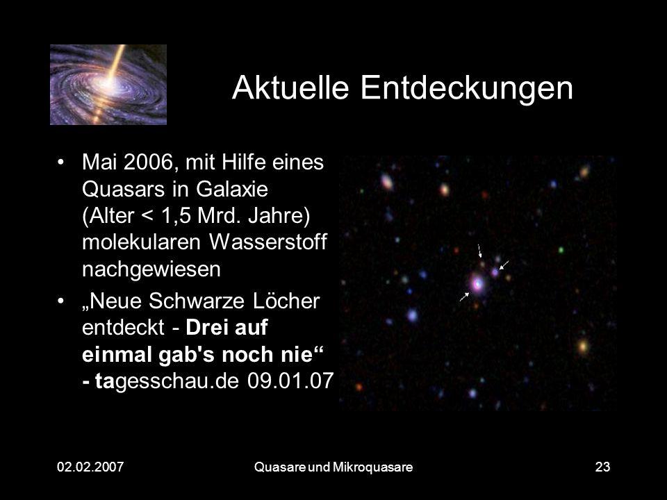 Quasare und Mikroquasare02.02.200723 Aktuelle Entdeckungen Mai 2006, mit Hilfe eines Quasars in Galaxie (Alter < 1,5 Mrd. Jahre) molekularen Wassersto