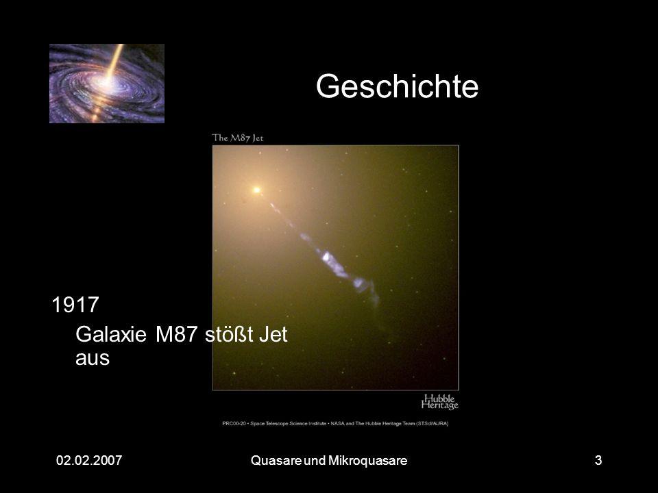 Quasare und Mikroquasare02.02.20073 Geschichte 1917 Galaxie M87 stößt Jet aus