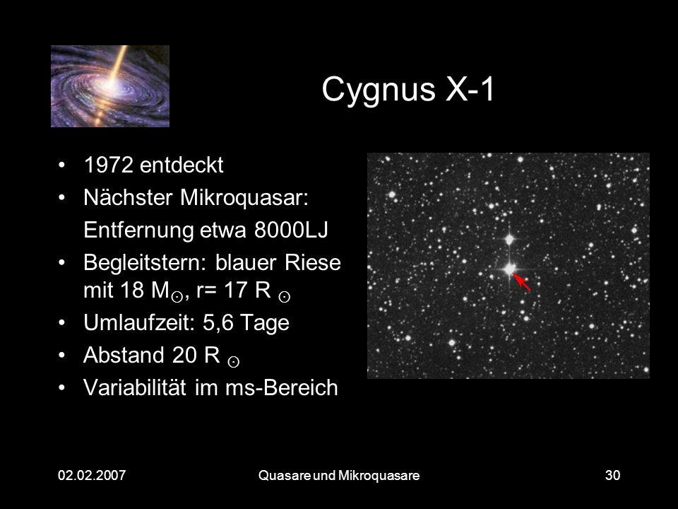 Quasare und Mikroquasare02.02.200730 Cygnus X-1 1972 entdeckt Nächster Mikroquasar: Entfernung etwa 8000LJ Begleitstern: blauer Riese mit 18 M, r= 17