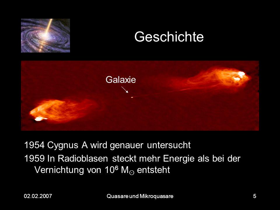 Quasare und Mikroquasare02.02.20075 Geschichte 1954 Cygnus A wird genauer untersucht 1959 In Radioblasen steckt mehr Energie als bei der Vernichtung v