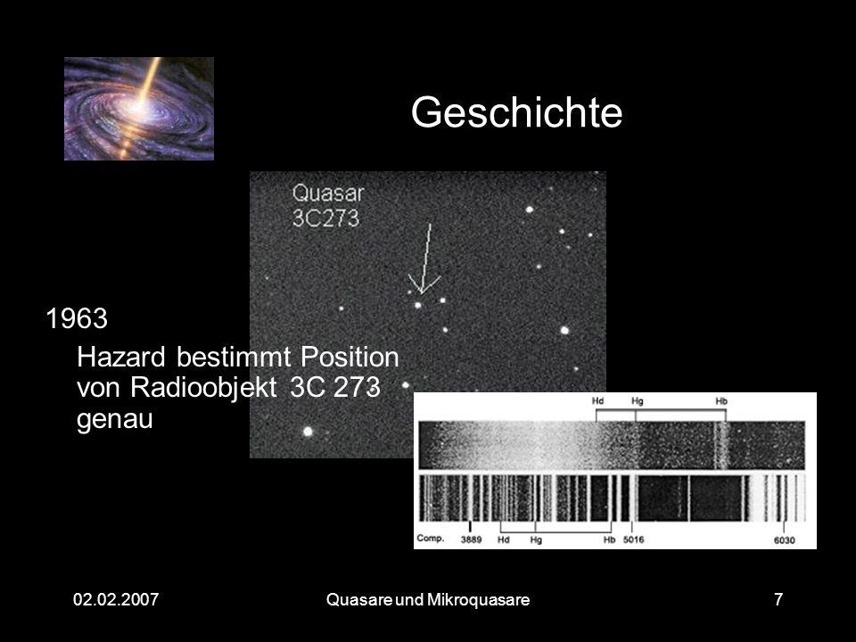 Quasare und Mikroquasare02.02.20078 Eigenschaften von 3C 273 Rotverschiebung von 15% -> Entfernung etwa 2,5·10 9 Lichtjahre Zeitliche Variabilität von 1 Monat -> Ausdehnung höchstens 1 Lichtmonat Jetlänge über 100.000 Lichtjahre