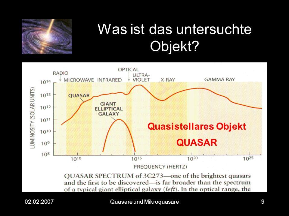 Quasare und Mikroquasare02.02.200710 Heutiger Stand Über 100.000 Quasare entdeckt Rotverschiebung zwischen 0,06 und 6,4 –Entfernung von 780Mio bis 13Mrd.