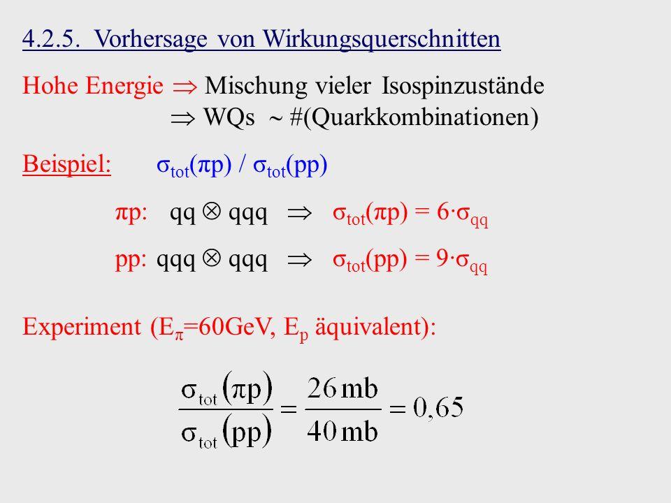 4.2.5. Vorhersage von Wirkungsquerschnitten Hohe Energie Mischung vieler Isospinzustände WQs #(Quarkkombinationen) Beispiel:σ tot (πp) / σ tot (pp) πp