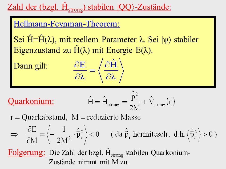 Zahl der (bzgl. Ĥ strong ) stabilen  QQ -Zustände: Hellmann-Feynman-Theorem: Sei Ĥ=Ĥ(λ), mit reellem Parameter λ. Sei  ψ stabiler Eigenzustand zu Ĥ(λ)