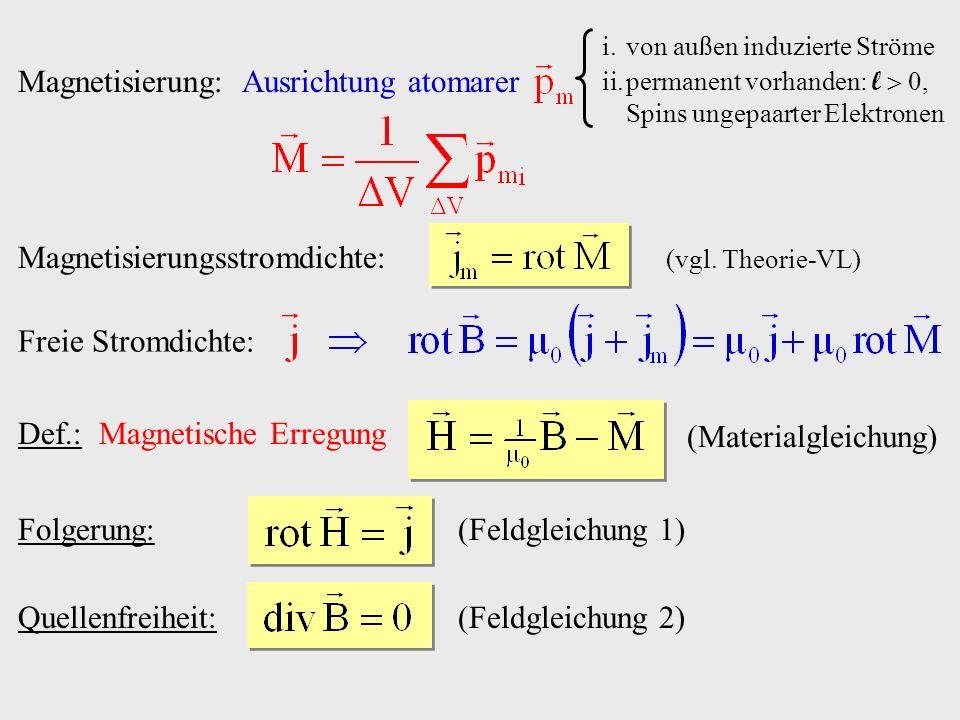 Def.: Magnetische Erregung (Materialgleichung) Folgerung:(Feldgleichung 1) Magnetisierung: Ausrichtung atomarer i.von außen induzierte Ströme ii.perma