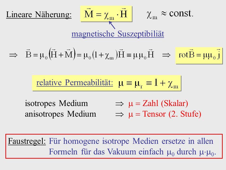 Lineare Näherung: magnetische Suszeptibiliät relative Permeabilität: isotropes Medium Zahl (Skalar) anisotropes Medium Tensor (2. Stufe) Faustregel:Fü