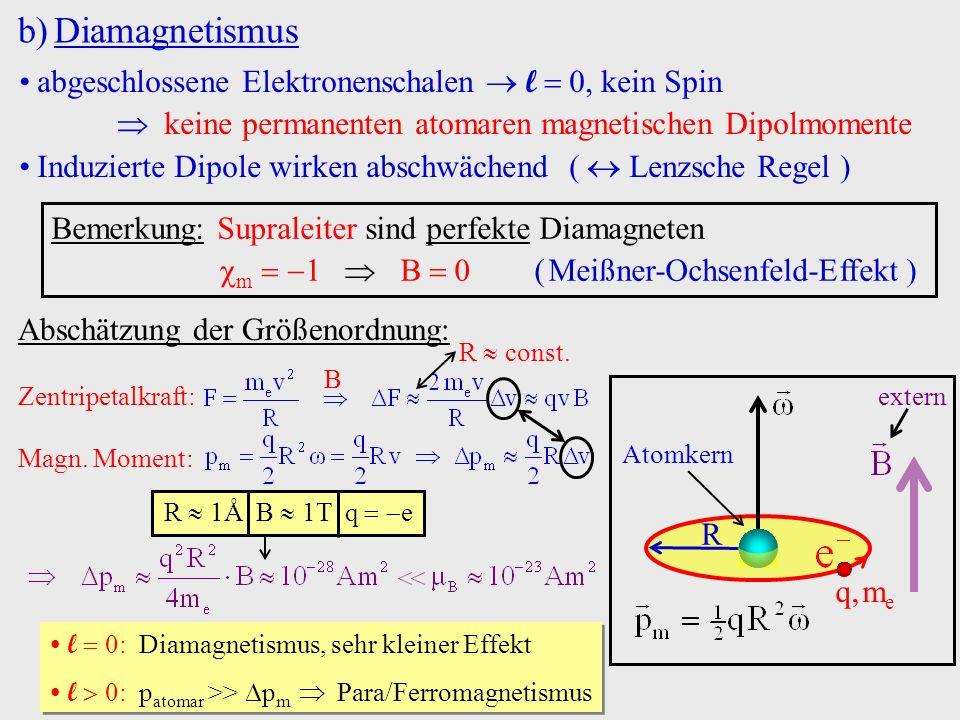 b)Diamagnetismus abgeschlossene Elektronenschalen l 0, kein Spin keine permanenten atomaren magnetischen Dipolmomente Induzierte Dipole wirken abschwä