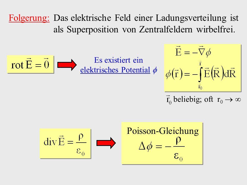 Folgerung: Das elektrische Feld einer Ladungsverteilung ist als Superposition von Zentralfeldern wirbelfrei. Poisson-Gleichung Es existiert ein elektr