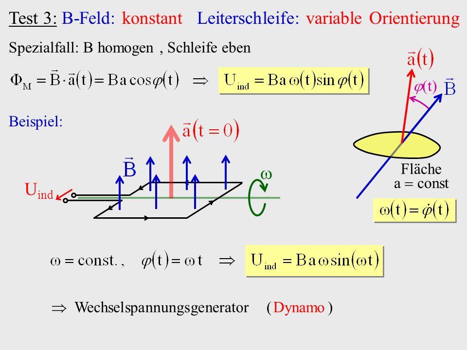 Test 3: B-Feld: konstant Leiterschleife: variable Orientierung Spezialfall: B homogen, Schleife eben Fläche a const t Beispiel: U ind Wechselspannungs