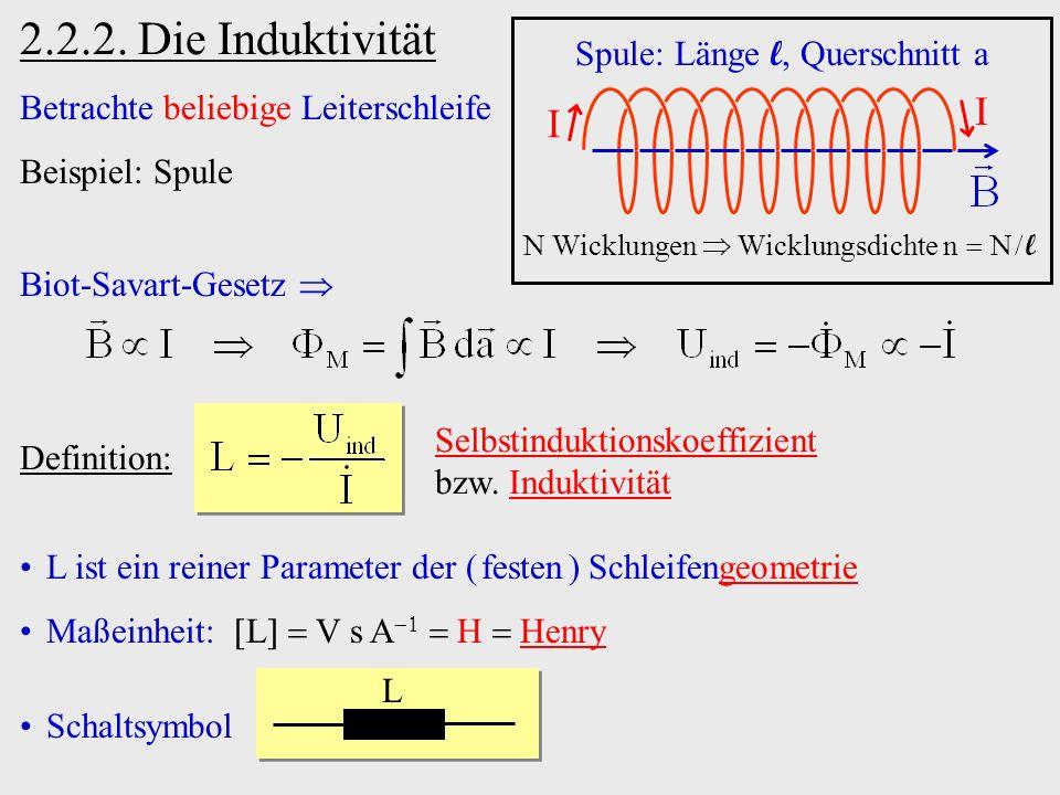 L L ist ein reiner Parameter der ( festen ) Schleifengeometrie Maßeinheit: L V s A H Henry Schaltsymbol 2.2.2. Die Induktivität I I N Wicklungen Wickl