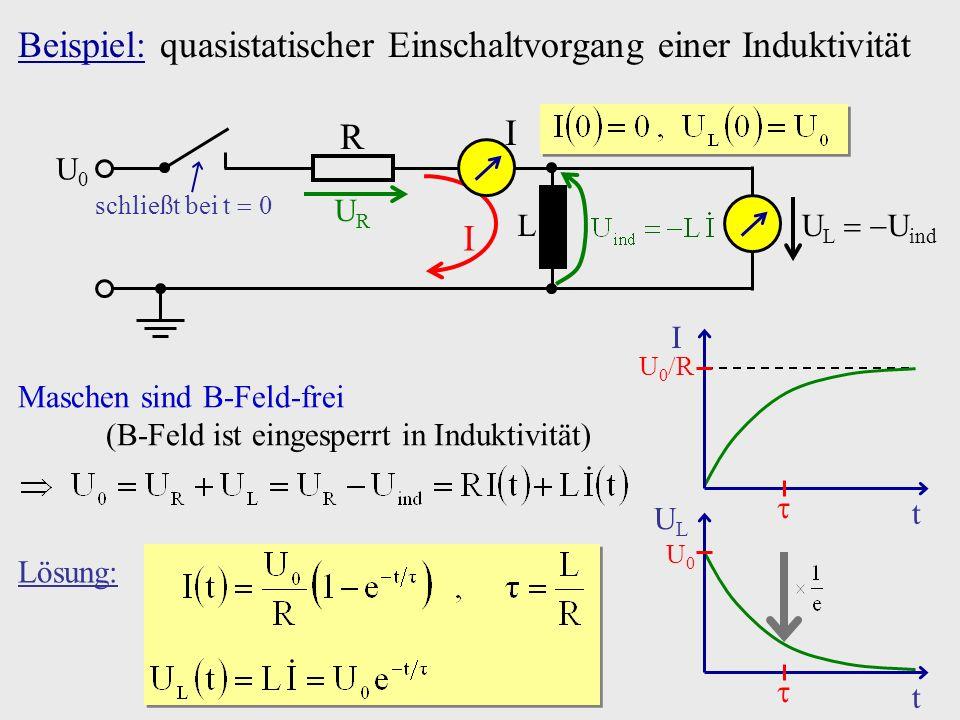 Beispiel: quasistatischer Einschaltvorgang einer Induktivität Lösung: U0U0 ULUL t U L U ind schließt bei t 0 U0U0 R L I URUR I t I U 0 R Maschen sind
