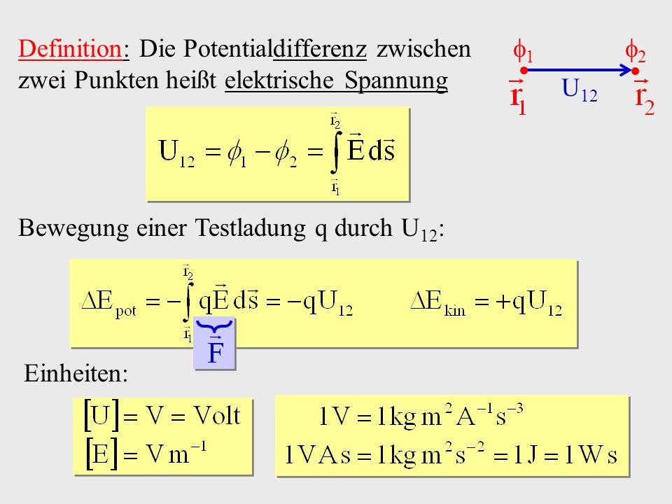 Definition: Die Potentialdifferenz zwischen zwei Punkten heißt elektrische Spannung 1 2 U 12 Bewegung einer Testladung q durch U 12 : Einheiten: