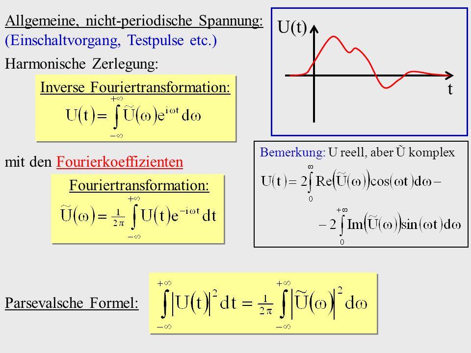 Allgemeine, nicht-periodische Spannung: Parsevalsche Formel: U(t) t (Einschaltvorgang, Testpulse etc.) mit den Fourierkoeffizienten Fouriertransformat