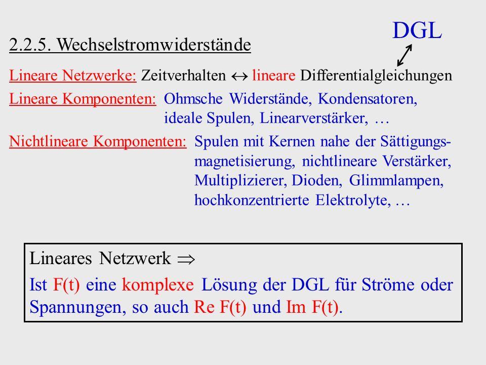 2.2.5. Wechselstromwiderstände Lineare Netzwerke: Zeitverhalten lineare Differentialgleichungen Lineare Komponenten:Ohmsche Widerstände, Kondensatoren